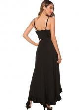 Stylish Solid Ruffled Hem Slip Maxi Dresses