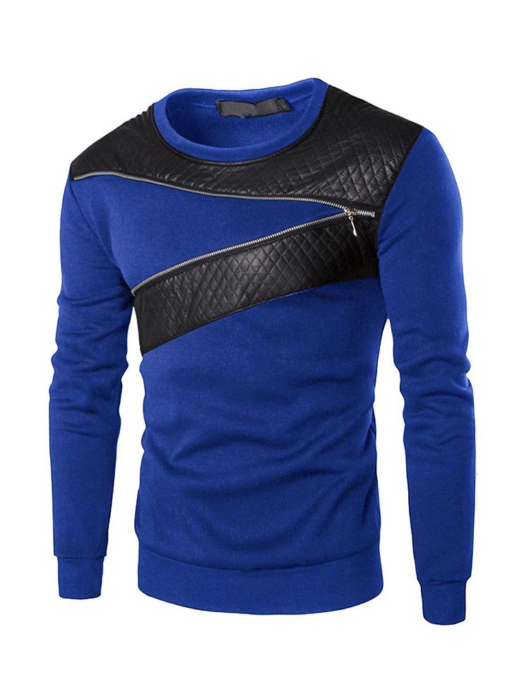 Leather Patchwork Zipper Decor Long Sleeve Crewneck Sweatshirt