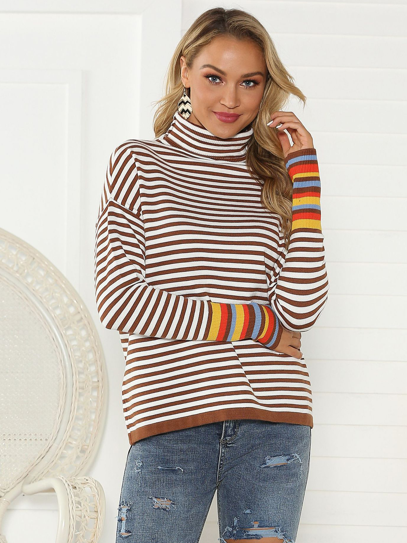 Autumn Stitching Color Striped Turtleneck Sweater