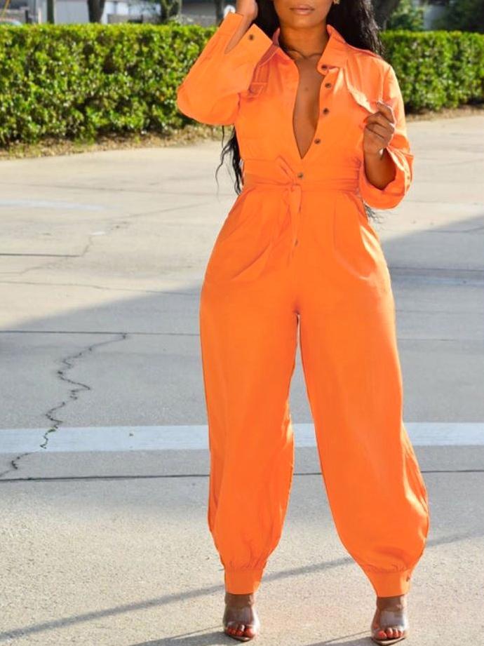 Street Wear Solid Long Sleeve Jumpsuit