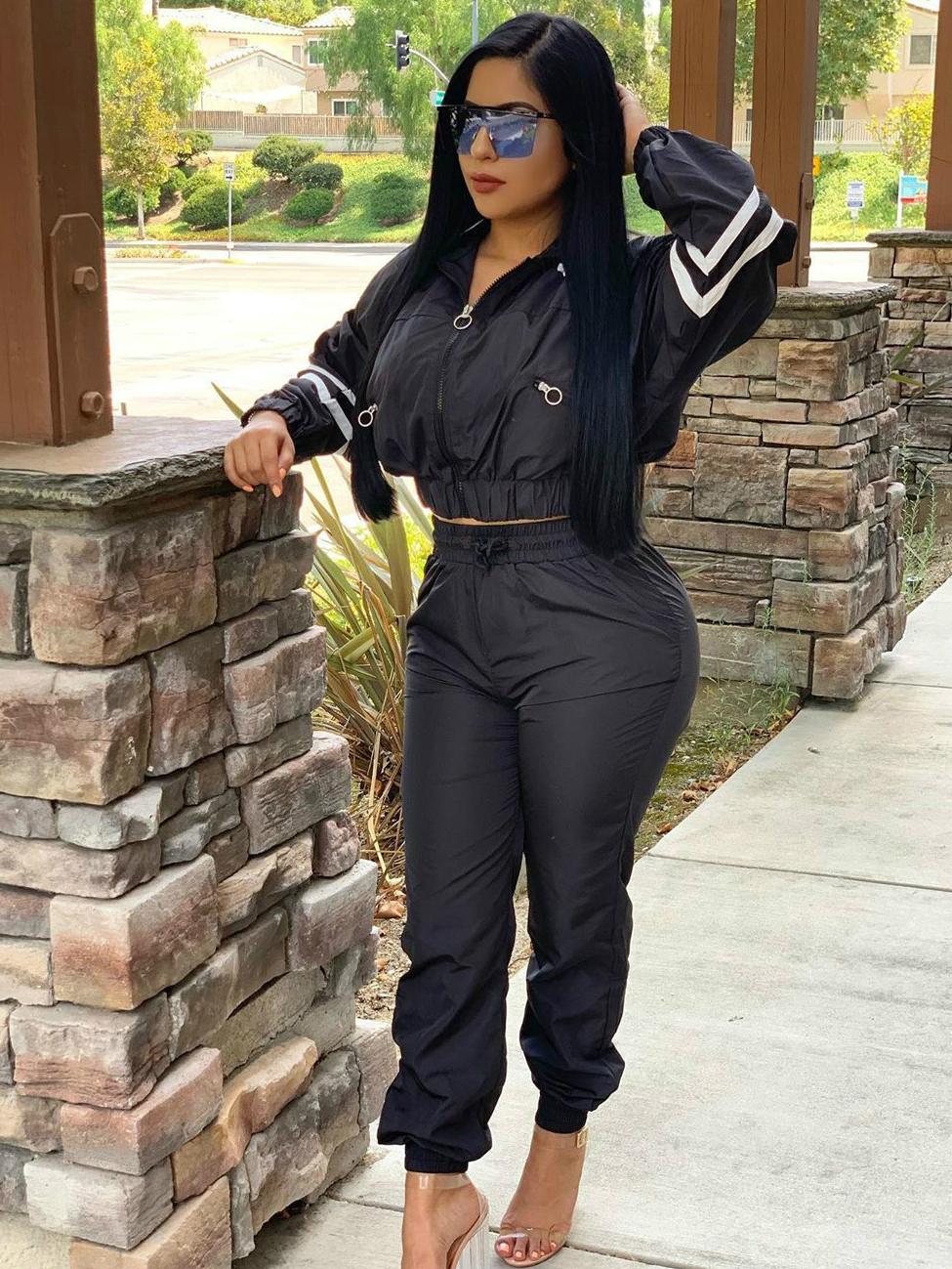 Contrast Color Long Sleeve Women's Activewear