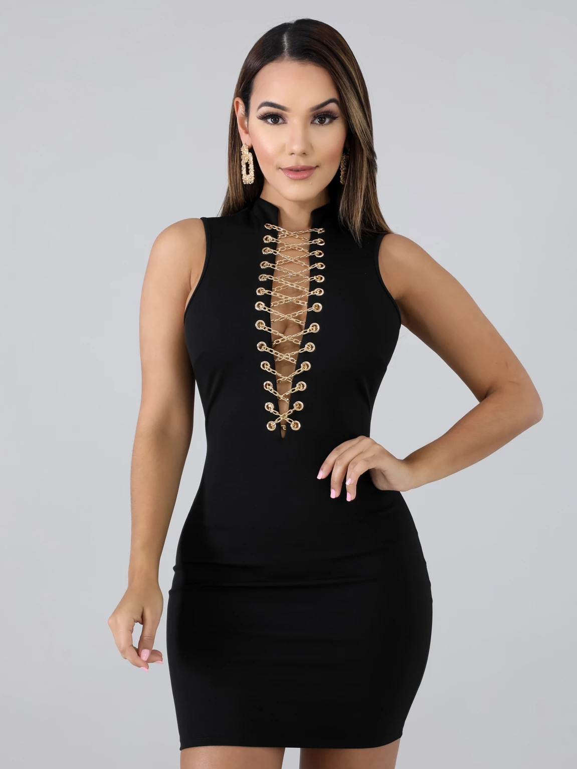 Sexy Lace Up Sleeveless Sheath Dress