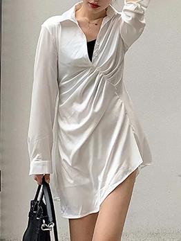 Pleated Irregular Long Sleeve Mini Dress