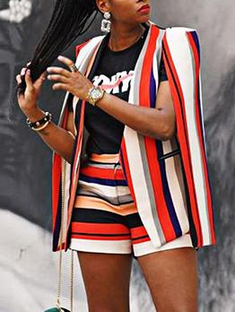 Leisure Colorful Striped Blazer Trouser Co Ord