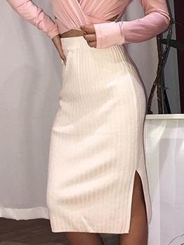 Split Hem Solid Knitting Knee Length Skirt