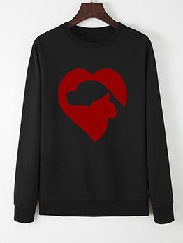 Heart Abstract Printed Loose Long Sleeve Sweatshirt