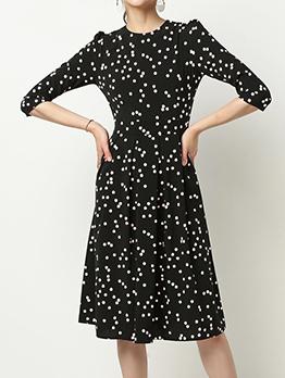 Dot Three Quarter Sleeve Ruffled Chiffon Dress