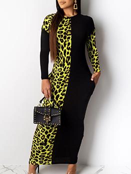 Contrast Color Leopard Printed Maxi Dress