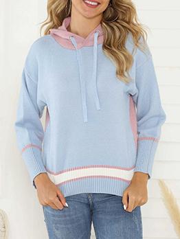 Contrast Color Side Split Hooded Knit Sweater