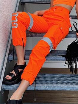 Orange Letter Printed Reflective Cargo Pants