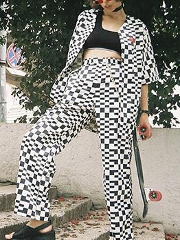 New Style Irregular Straight Plaid Pants