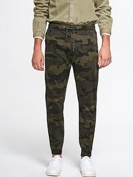 Camouflage Mid Waist Drawstring Jogger Pants