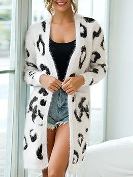 Leopard Printed Knitting Cardigan Long Coat