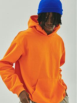 Solid Long Sleeve Unisex Plus Velvet Pullover Hoodie