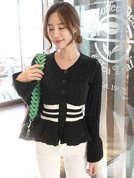 Single Breasted Patchwork Ruffles Hem Knit Sweater