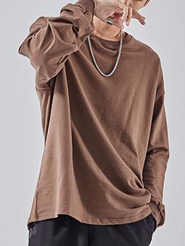 Solid Long Sleeve Cotton Crewneck Sweatshirt