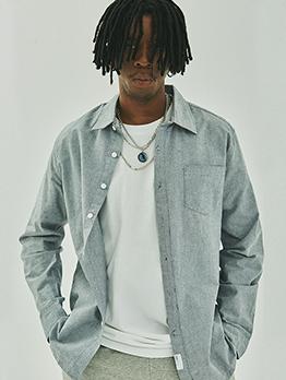 Turndown Collar Solid Cotton Long Sleeve Shirts