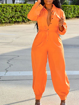 Street Wear Solid Long Sleeve Jumpsuit