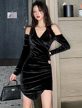 Velvet Off Shoulder Irregular Bodycon Dress