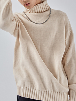 Solid Long Sleeve Loose Turtleneck Sweater