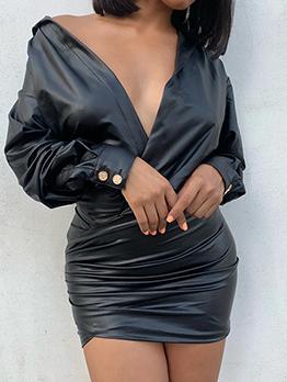 V Neck Pleated PU Long Sleeve Mini Dress