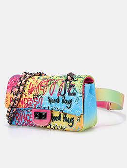 Multi-Purpose Spin Lock Iridescent Graffiti Chain Bag Waist Bag