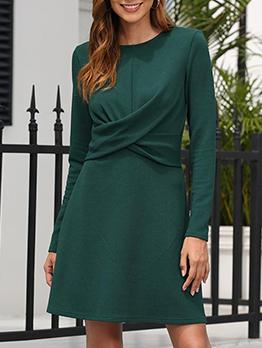 Crew Neck Green Long Sleeve Dress