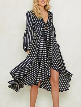Striped Irregular Hem Long Sleeve Dress