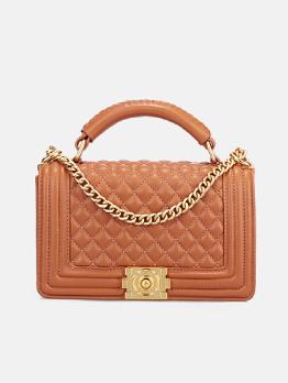 Solid Rhombus Golden Chain Shoulder Bag With Handle