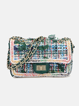 Two Size Spin Lock Tweed Stitching Chain Shoulder Bag