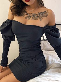 Fashion Slim Black Long Sleeve Dress