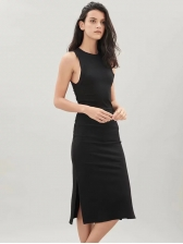 Split Solid Knitting Sleeveless Dress