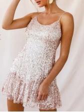 Sequined Spaghetti Strap Ruffled Mini Dress