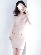 Sexy Deep V Neck Sleeveless Bodycon Dress