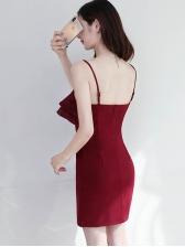 Spaghetti Strap Ruffled Bow Bodycon Dress