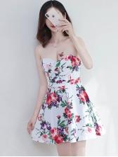 Flower Printed Backless Strapless Mini Dress