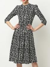Chiffon Floral Ruffled Long Sleeve Dress