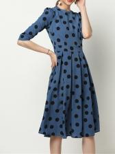 Dot Ruffled Slim Waist Long Sleeve Dress