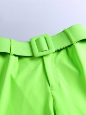 Solid Wide Belt Straight Pants For Women