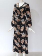 Leaf Printed Long Sleeve Chiffon Midi Dress
