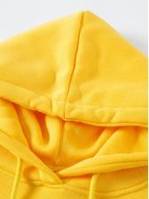 Minimalist Letter Design Solid Hoodies For Women