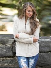 Winter Solid Zip Up Woolen Hoodie