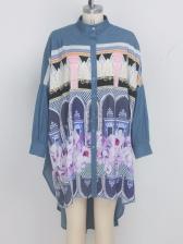 Losse Printed Denim Long Sleeve Short Dress