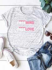 Plus Size Letter Short Sleeve T Shirt Printing