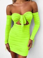 Strapless Hollow Drawstring Pleated Short Bodycon Dress