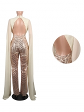 Fashion Sequined Shawl Sleeves Wide Leg Jumpsuit