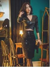 Night Club Thicket Sequin High Waist Skirt
