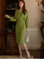 V Neck Bat Sleeve Smart Waist Knit Two Piece Skirt Sets