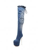 Platforms Super Heel Denim Knee High Boots