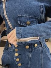 Off Shoulder Split Bell Bottom Denim 2 Piece Pants Set